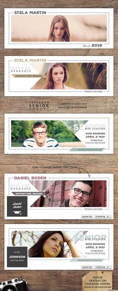 2x creative facebook covers to announce graduation in style and 1x senior mini sessions facebook cover to promote your senior photography sessions.                 #photographymarketing #graduationannouncement #seniorminisessions #facebook
