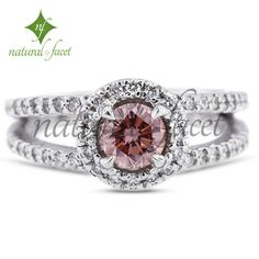 1.77ct Ideal Pink-VS1 Round Diamond 14k White Gold Halo Engagement Ring