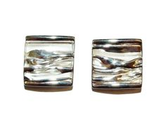 Stamped 925 Sterling Silver Satin Finished Large Square Stud Earrings