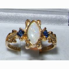British Victorian Style Marquise Opal Sapphire Ring