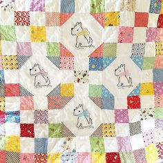 """Here is the cutest and sweetest """"Puppy Love Quilt"""" made by Renee Lange of @sewnwithgrace Renee used the latest ✨ Retro 30's Child Smile 2015 Spring Collection ✨ Now in Stores! Little Flowers, Puppies, Dots, Berries, Fun, Fun, Fun! Made in Japan • 100% Fine Quality Cotton • Feel free to leave your note if you are carrying this collection in your shop!  #Lecien #lecien_fabrics #Retro30s #Retro30sChildSmile #puppylove #bags"""