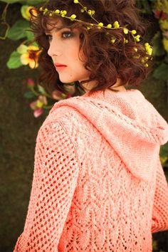 Lace back hoodie by Mari Tobita featured in Vogue Knitting Spring/ Summer 2012 using Savannah in Grapefruit