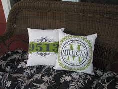 Personalized porch pillow address house number by jems1987 on Etsy, $16.00