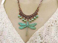 Dragonfly Necklace bohemian patina copper by Gypsymoondesigns