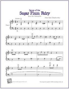 Dance of the Sugar Plum Fairy (Tchaikovsky) | Printable Sheet Music for Easy Piano - http://makingmusicfun.net/htm/f_printit_free_printable_sheet_music/sugar-plum-fairy-piano.htm