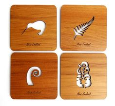 This set of 4 NZ Rimu Cutout Coasters are a lovely souvenir gift New Zealand. The coasters made from our native tree, with the large enough to show off. Silver Fern, Maori Designs, Christmas Gifts, Christmas Decorations, Kiwiana, Wedding Favours, One Design, Drink Coasters, Corporate Gifts