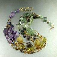 Amber Prehnite Amethyst Citrine Necklace. An impressive showpiece   http://www.johnsbrana.com/amber-prehnite-amethyst-citrine-necklace.html  $950.00