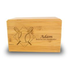 OneWorld Memorials Baseball Bamboo Box Cremation Urn - Large - Holds Up to 200 Cubic Inches of Ashes - Brown Urns for Human Ashes - Custom Engraving Included Small Urns, Bamboo Box, Human Ashes, Sliding Panels, Ash Brown, Cremation Urns, Custom Engraving, Biodegradable Products, Decorative Accessories