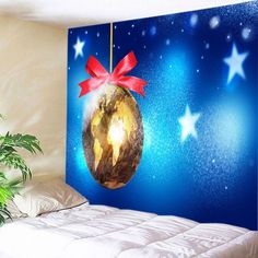 Christmas Map Bauble Print Tapestry Wall Hanging Art - BLUE W91 INCH * L71 INCH