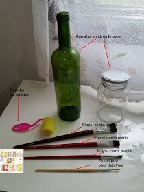 O Fika a Dika agora Diy Crafts Hacks, Diy And Crafts, Arts And Crafts, Decoupage, Wine Bottle Art, Bottle Painting, Glass Bottles, Mason Jars, Polymer Clay