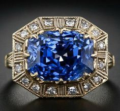 8.62 carat Art Deco-style sapphire and diamond ring. - Diamonds in the Library : Diamonds in the Library
