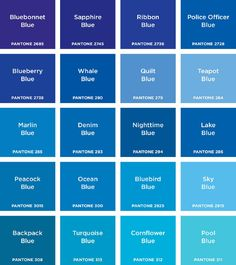 Pantone: Colours introduces children to the ten basic colours and twenty shades of each. Every spread features a colour heading, a monochromatic image and a variety of gridded shades and tints of the same colour. Younger children will enjoy naming th. Blue Shades Colors, Blue Paint Colors, Colours Name, Shades Of Blue Names, Sky Blue Paint, Colour Pallette, Beach Color Palettes, Blue Palette, Color Psychology