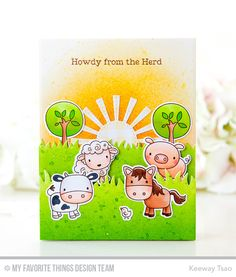 Farm Friends Stamp Set and Die-namics, Grassy Fields Die-namics, Sunny Skies Die-namics - Keeway Tsao  #mftstamps
