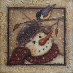 "Snowman and Chickadee Image size 12"" x 12"""