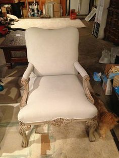 sloan chalk, paint fabric, anni sloan, upholstered chairs, painted fabric