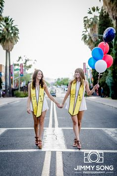 University of Arizona Senior Graduation Grad Photo Portraits Idea Fun Smile Happy Sorority Dress Pose Cap Gown Balloon Kappa Alpha Theta
