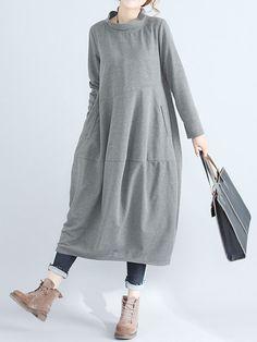 Gracila Casual Pure Color Turtleneck Long Sleeve Women Dresses