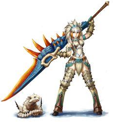 barioth barioth_(armor) belt beriorosu monster_hunter navel senri solo switch_axe sword weapon white_hair