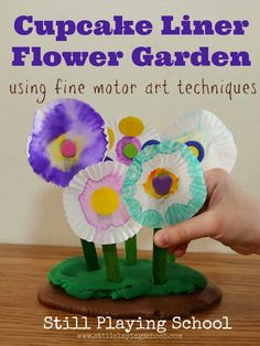 Cupcake Liner Flower Craft: Fine Motor Art for Kids from Still Playing School
