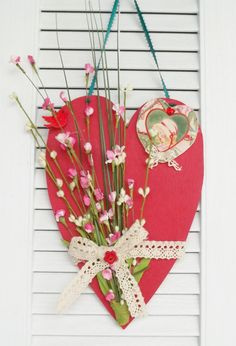 Valentine Wooden Heart Hand Painted Mixed Media by paintingwhimsy, $22.00