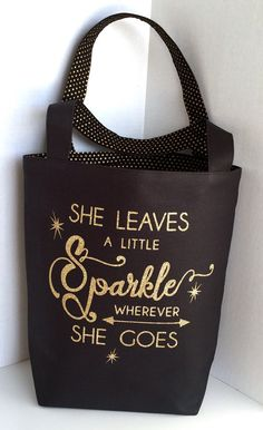 Canvas Tote Bag with a Sparkly Quote Bag Black Canvas Gold Glitter