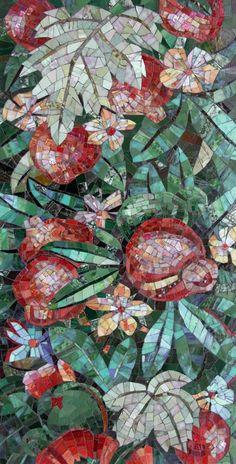 Мозаичное панно гранатовые заросли
