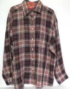 Faconnable Mens Linen Plaid long Sleeve Shirt Size Xl #Faconnable #ButtonFront