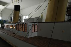 Model of the Titanic, over long! looking down the deck Titanic Model, Light Up, Deck, Stairs, Home Decor, Stairway, Decoration Home, Staircases, Room Decor