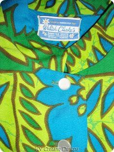 Waltah Clarkes Barkcloth Green Blue Floral Tea Timer Blouse Hawaiian Shirt Large | eBay