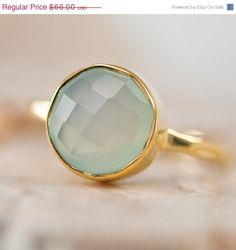 SALE - Sea foam green - Aqua Blue Chalcedony Ring - Gemstone Ring - Gold Ring - Bezel Set Ring