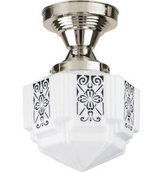 Hollywood Small Semi-Flush Mount Art Deco Flush Ceiling Fixture