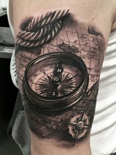 3D compass tattoo