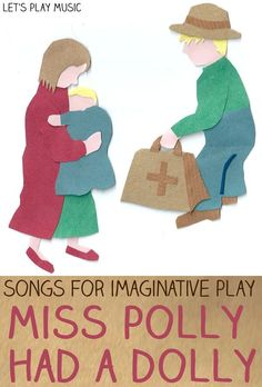 Let's Play Music : Action Songs & Songs for Imaginative Role Play - Miss Polly Had a Dolly. Song notes in link. Preschool Music Activities, Infant Activities, Children Activities, Preschool Ideas, Nursery Rhyme Crafts, Nursery Rhymes, Toddler Fun, Toddler Music, Toddler Learning