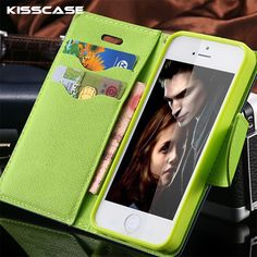 KISSCASE For iPhone 5C 5S Mobile Phone Case Leather Flip Case For iPhone 5C For iPhone 5 5S SE Stand Wallet Card Slot Back Cover