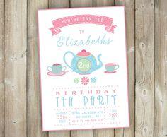 Tea Party Birthday Invitation Girls Tea by FavoriteThingsDesign