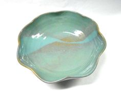 Pottery Serving Bowl, Ceramic Serving Bowl, Pottery Scalloped Bowl, Ceramic Scalloped Bowl, Altered Bowl, Serving Bowl, Medium in Blue  This
