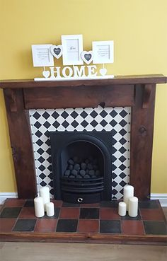 Pinot and Black quarry tiles laid as a fire hearth Decor, House, Hearth, Stone Flooring, Fireplace Hearth, Rustic Country Kitchens, Wood Burner, Hearth And Home, Fireplace Tile