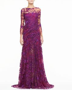 Silk Gown with Embroidered Tulle by Monique Lhuillier at Bergdorf Goodman.