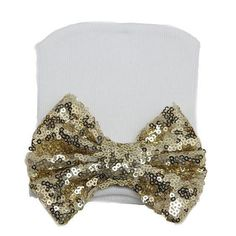 Gold Newborn Sparkle Bow Hat - Baby Girl Accessories - Cassidy's Closet