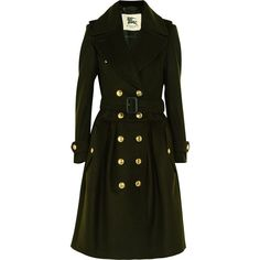 Green Wool and Cashmere-blend Trench Coat