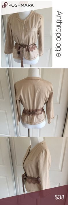Anthropologie jacket with lace and tie by Odille 6 ♦️Excellent condition. No holes, stains or piling.                                                  ♦️Materials- 100 cotton            ♦️Measurements:                                  ♦️Laying flat armpit to armpit: approximately 17 inches                                                   ♦️Laying flat from the back of the neck to the bottom of the front hem is approximately 20 inches Anthropologie Jackets & Coats