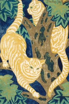 Eileen Mayo - Cats in the trees (Linocutting - 1931)