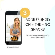 3 ACNE FRIENDLY ON -THE- GO SNACKS Healthy and easy-to-make recipes for clear and glowing skin! @Jacquelin.Eickholt'. Clear Skin Fast, Clear Skin Tips, Acne Clearing Foods, Clear Skin Routine, Glowing Skin Diet, How To Treat Acne, Easy Food To Make, Acne Treatment, How Are You Feeling
