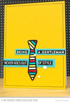 Stylish Gentleman Card from Lorena Cantó featuring the Lisa Johnson Designs Terrific TIes stamp set and Die-namics
