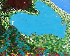 Corcovado e Lagoa Lucia de Lima (Brasil, contemporânea) acrílica sobre tela, 33 x 41 cm www.luciadelima.com