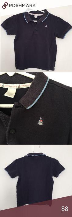 Janie & Jack Blue Sail Boat Polo Shirt Janie & Jack short sleeve navy blue polo with sailing ship logo embroidered on left. Some wash & wear Janie and Jack Shirts & Tops Polos