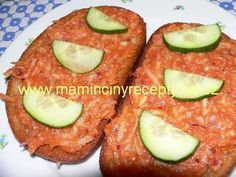 Pomazánka na topinky Czech Recipes, Ethnic Recipes, Mashed Potatoes, Hamburger, Avocado, Toast, Food And Drink, Appetizers, Pizza