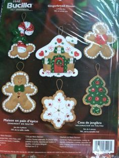 Bucilla Christmas Gingerbread House Ornaments Felt Kit Jeweled | eBay