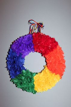 Wreath at a Rainbow Party #rainbow #partywreath