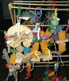 Homemade Parrot Toys   These are some of the toys that I make now. They have lots of fun ...